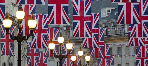 UK. London. Regent Street. Decorations for the Royal Wedding