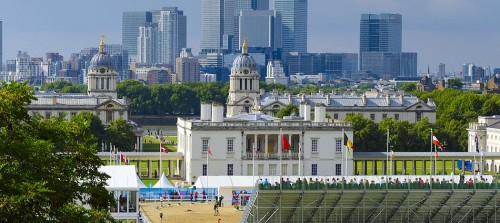 UK, England, London, Greenwich Park, London Olympic 2012 Equestrian and Modern Pentathalon Test Event, National Maritime Museum and Canary Wharf beyond